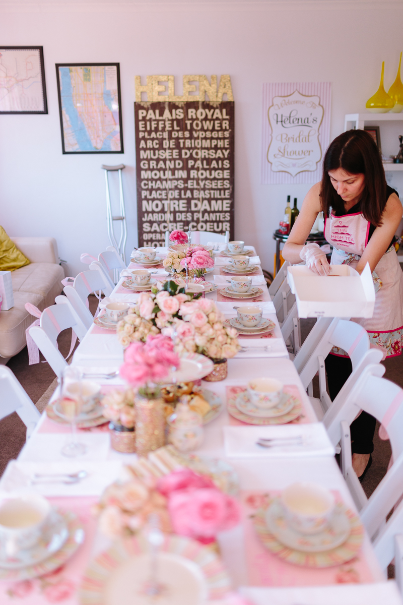 A glittering pink high tea shower in sydney australia for Bridal shower kitchen tea ideas