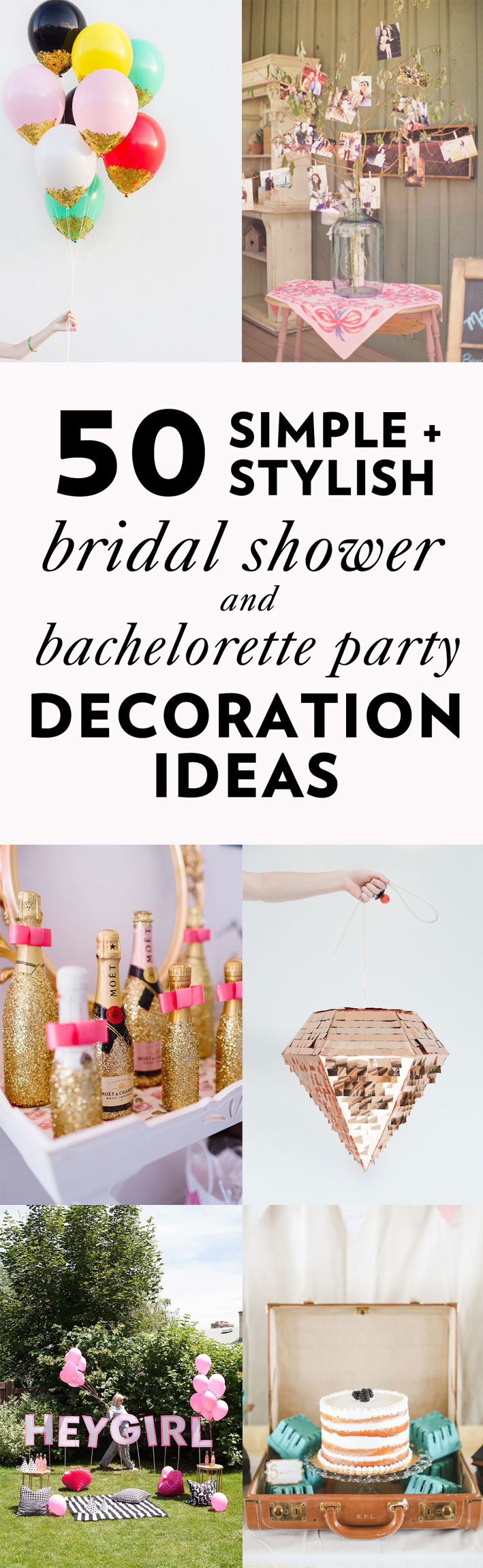 50 Simple and Stylish DIY Bridal Shower & Bachelorette Decoration ...